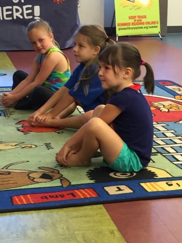 Children had fun taking a yoga class at the library