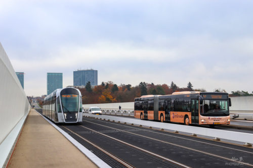 Luxembourg - tram and public bus