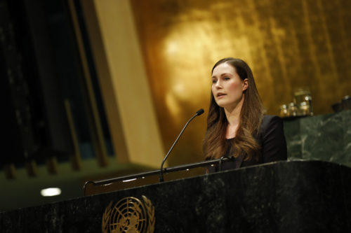 Sanna Marin, Prime Minister of Finland, at the United Nations Observance of International Women's Day 2020