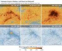 NASA and European Space Agency (ESA) pollution monitoring satellites have detected significant decreases in nitrogen dioxide (NO2) over China. The yellow and red in the top row show pollution levels in 2019. In the images from early 2020 in the bottom row, the pollution has almost completely disappeared.