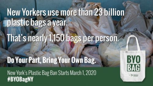 Graphic stating that New Yorkers use more than 23 billion plastic bags a year.