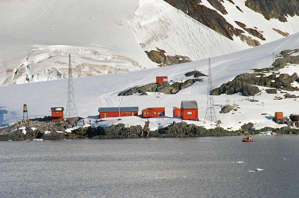 "Argentine Station ""Almirante Brown"", Paradise Harbor in the Gerlach Strait, Antarctica."