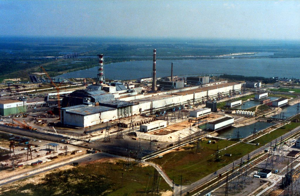 Aerial view Chernobyl nuclear power plant with sarcophagus. (Chernobyl, Ukraine)