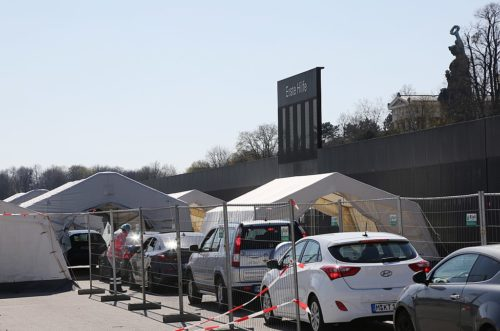 drive-through test station for CoVid19 infections in Munich, Germany