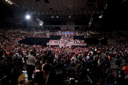 "President of the United States Donald Trump speaking with supporters at a ""Keep America Great"" rally at Arizona Veterans Memorial Coliseum in Phoenix, Arizona."