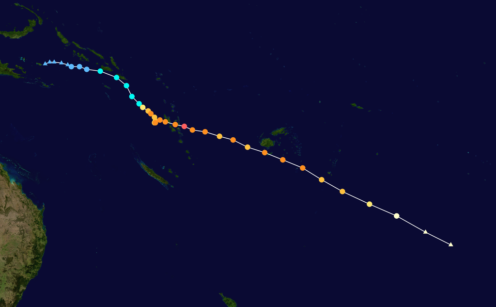 Track map of Severe Tropical Cyclone Harold of the 2019-20 Australian region cyclone season and the 2019-20 South Pacific cyclone season.
