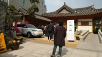 Voters stood 1 meter apart and used disinfectant and disposable gloves during the last day for 2020 South Korean legislative election pre-voting, polling place at Hyehwa-dong, Jongno, Seoul, April 11, during the COVID-19 pandemic.