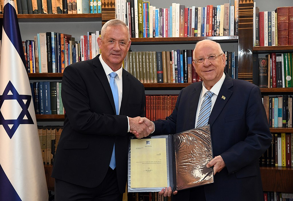 The President of Israel, Reuven Rivlin tasking Beni Gantz with forming the Thirty-fifth government of Israel. Wednesday, October 23, 2019. Credit Photo: Haim Zach / GPO.