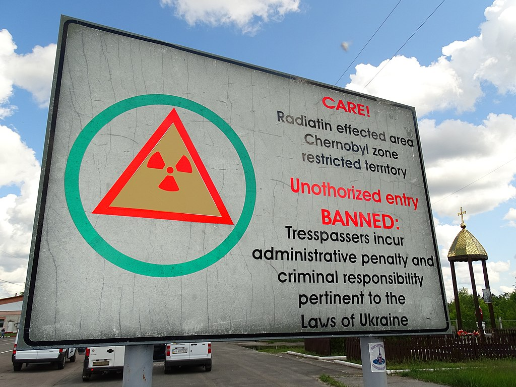 Sign at Entrance to Chernobyl Exclusion Zone - Northern Ukraine