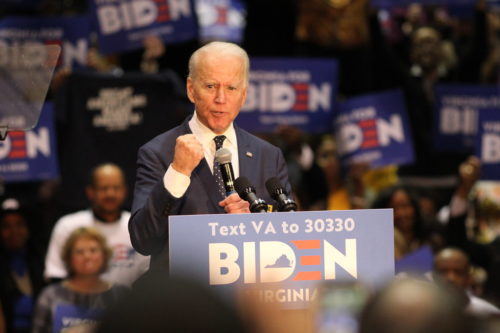 Democratic Presidential Candidate, Former Vice President Joe Biden speaks at a rally in Norfolk, Virginia at Booker T. Washington High School. Photo by Carter Marks, Royals Media.