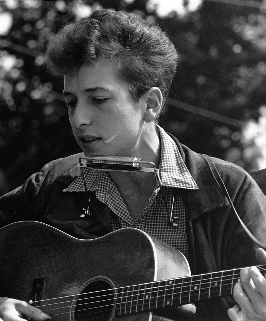 Civil Rights March on Washington, D.C.; close-up view of vocalist Bob Dylan, August 28, 1963