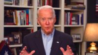 Joe Biden speaks during a livestream from his home.