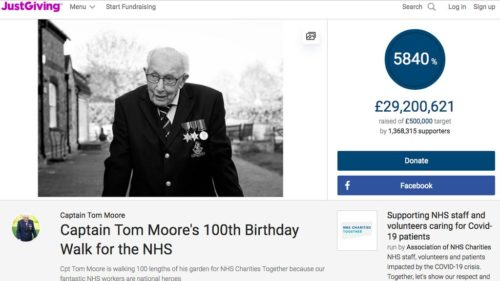 Screenshot of Captain Tom Moore's Just Giving page.