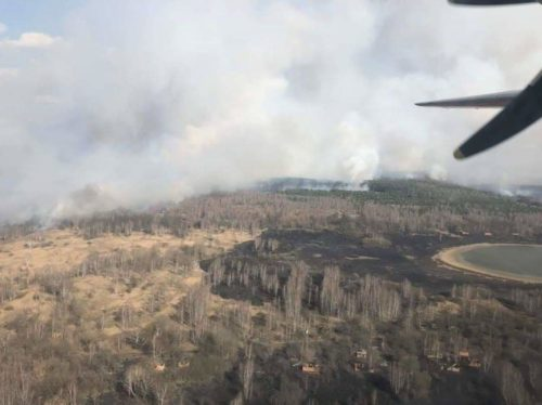 Fire in the Chernobyl Exclusion Zone, Photo from the plane