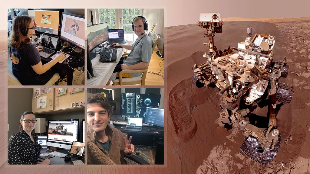 The team behind the Mars rover Curiosity shown working from home.