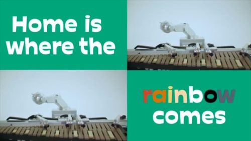 "Screenshot from video for ""Into Your Mind"", a song by Shimon, the musical robot."