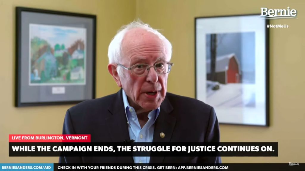 Bernie Sanders speaks during a livestream from his home.