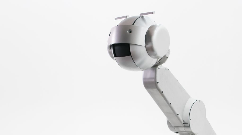 Closeup of Shimon, the musical robot, singing.