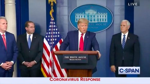 Donald Trump speaks during a coronavirus briefing at the White House.