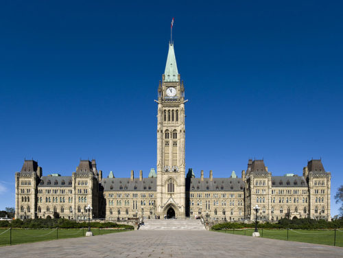 The Centre Block, Canadian Parliament building, with the Peace Tower in front, Ottawa, Southern Ontario.