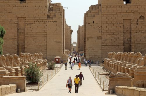 Luxor (Egypt): western sphinxes alley of Karnak temple, with ram-headed sphinxes