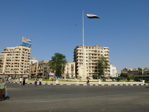 Tahrir Square in 2019. The monumental flagpole in the middle is a recent addition after the revolution and after the protests of 2011-2013.