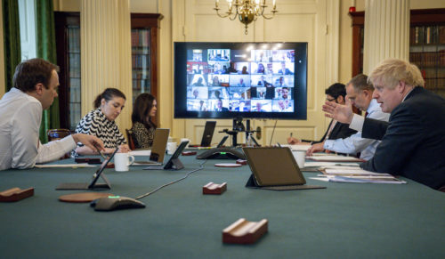 Prime Minister Boris Johnson holds the Digital Cabinet Meeting in 10 Downing Street.