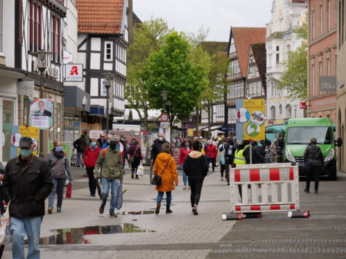 Pedestrians in Detmold, Kreis Lippe, Northrhine-Westphalia out on May 2, 2020, after lockdown rules are relaxed.