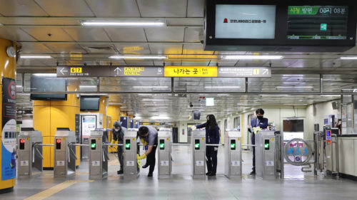 Subway station undergoes disinfection for COVID-19 Dongdaemun History & Culture Park Station, Seoul, May 07, 2020