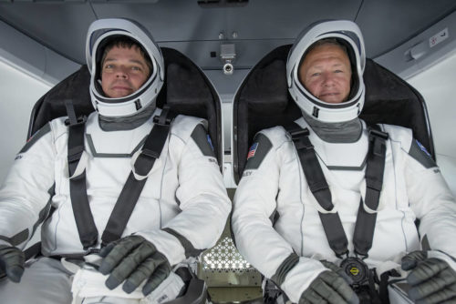 NASA astronauts Bob Behnken and Doug Hurley participated in a test for NASA's Commercial Crew Program.