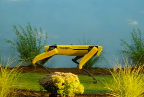 Boston Dynamics dog robot Spot, seen in a promotional video.