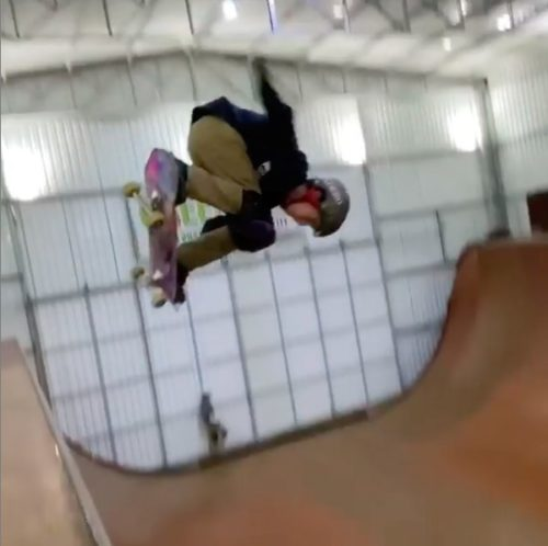 Gui Khury, mid-air as he performs a 1080.