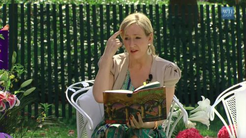 Author J.K. Rowling reads from Harry Potter and the Sorcerer's Stone at the Easter Egg Roll at the White House. Screenshot taken from official White House video.
