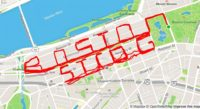 """Map with route marked in red reading """"BOSTON STROG""""."""