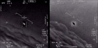 Frames from UFO videos released by the Pentagon.