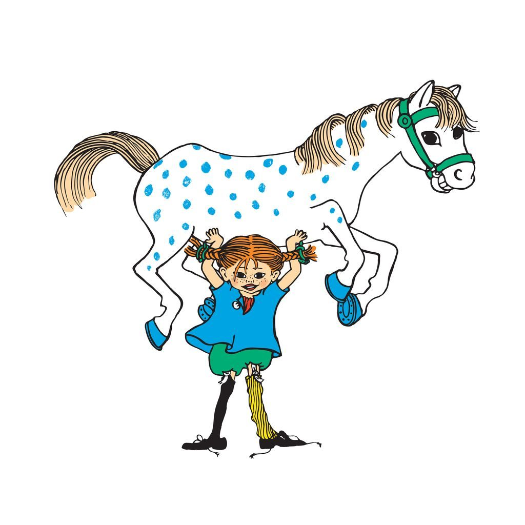Pippi Longstocking illustration by Ingrid Vang Nyman - Pippi lifting a horse.