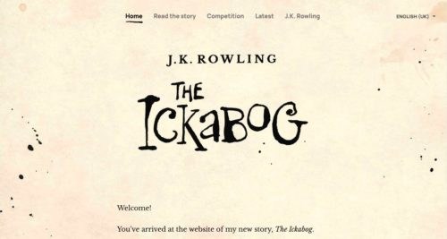 Screenshot of the website for J.K. Rowling's new story, The Ichabog.