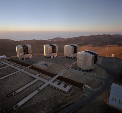 Aerial view of the Very Large Telescope Array (VLT) in the Paranal Mountain, Chile.
