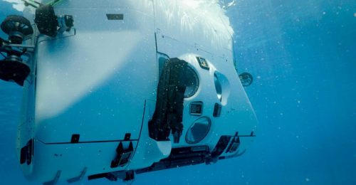 The pictures shows the deep diving submersible Limiting Factor during the test phase near in 2018