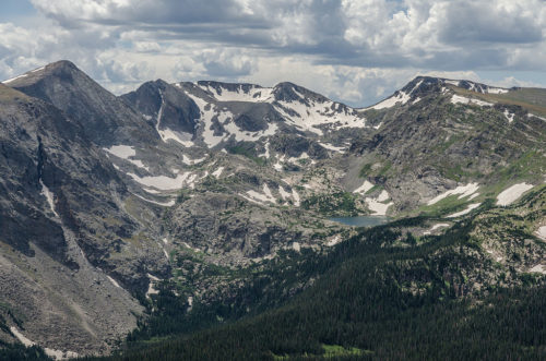 Part of the Rocky Mountains around Mount Ida. The Gorge Lakes can be seen in front of the range