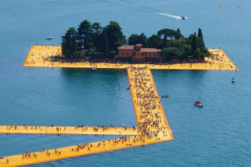 The Floating Piers at the island of San Paolo, by Christo and Jeanne-Claude, viewed from Rocca di Monte Isola, June 2016