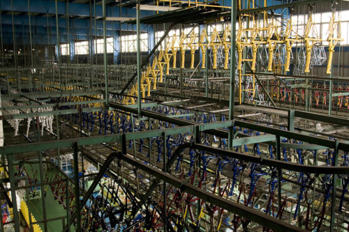 Bicycle frames on the line in a factory in Shanghai, China.