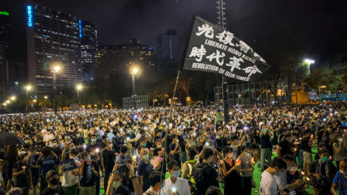 People in Hong Kong mark the 31st anniversary of Tiananmen Square.
