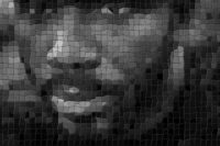 Pixelized image of a black man's face.