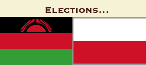 "Flags of Malawi and Poland, with the text ""Elections…"" above."