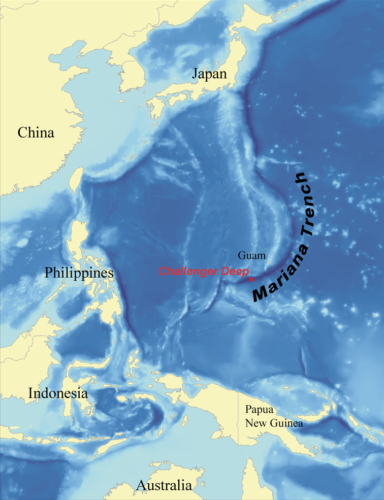 Map showing Location inside Mariana trench
