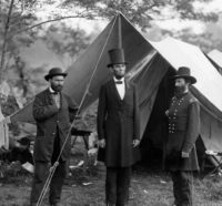 Allan Pinkerton, President Abraham Lincoln, and Major General John A. McClernand. This photo and another very similar to it were taken not long after the Civil War's first battle on northern soil in Antietam, Maryland on October 3, 1862.