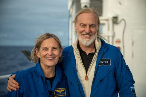 Dr Kathy Sullivan and Victor Vescovo after their dive to Challenger Deep.