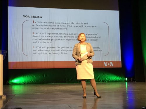 VOA Director Amanda Bennett gives a presentation on power of truth in a world of disinformation at the Media Literacy Conference in Sarajevo, September 22, 2017.