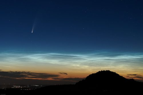 Comet C/2020 F3 (NEOWISE) with noctilucent clouds.